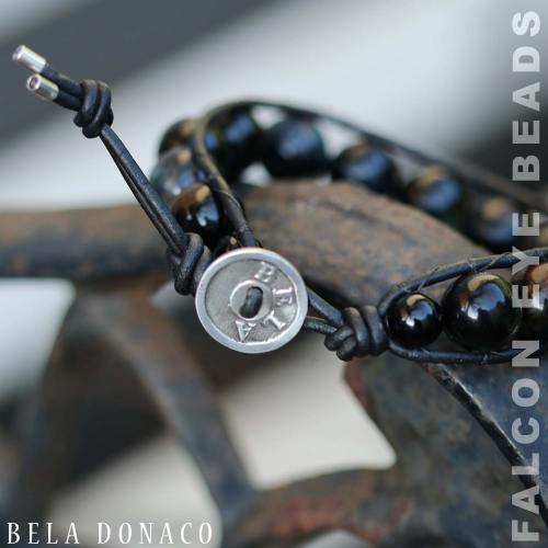 Armband Classic B12 – Falcon Eye – Leer – Sterling Silver