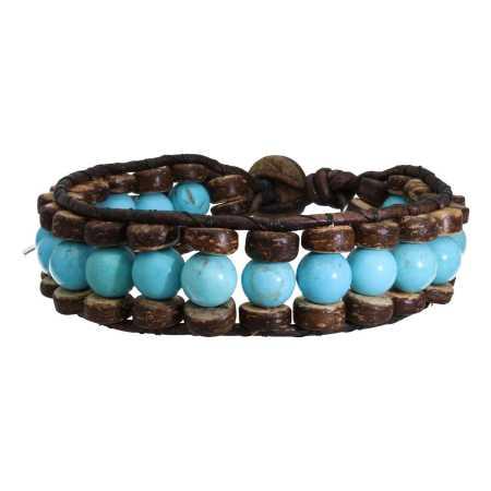 Armband Bohemian Blue B8 Turquoise kokos leer-1