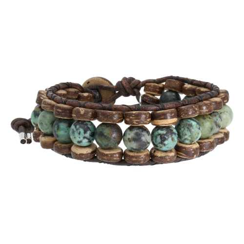 Armband Bohemian green B8 – Groen – Afrikaanse Turquoise – Kokos – leer