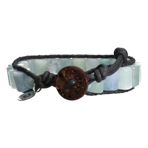 Armband Classic B10 – Blauw – Aquamarijn – Leer