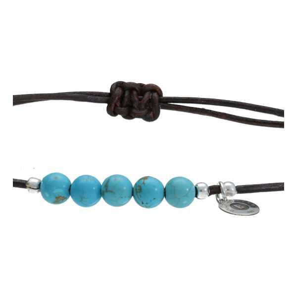 Enkelbandje Bohemian Blue Turquoise Leer-5