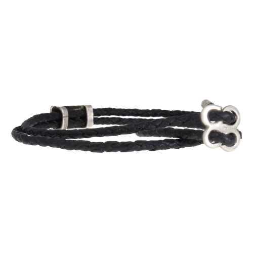Heren wikkel enkelband Classic – Zwart – gevlochten leer – Sterling Zilver