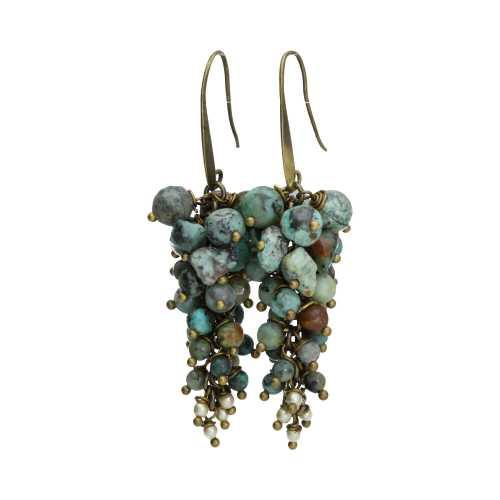 Oorbellen Bohemian – Afrikaanse Turquoise – Tsjechisch glas – Brons