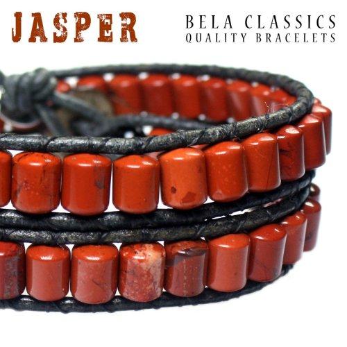 Armband Classic B6 – Rood – Jaspis – Leer