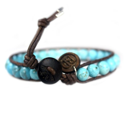Armband Classic B8 – Turquoise – Vintage leer – Sterling Zilver