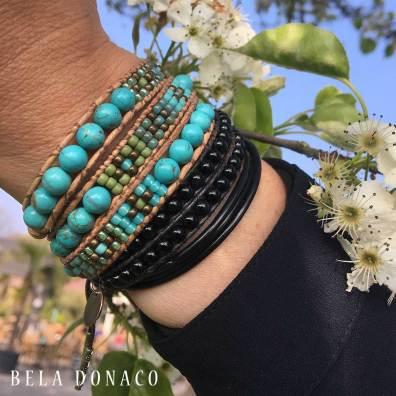 Bela Donaco dames armbaden Onyx en Turquoise