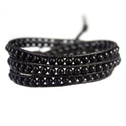 Wikkelarmband Classsic B4 – zwart – mat Onyx – Leder – Sterling Zilver