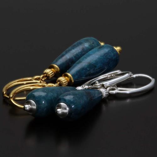 Oorbellen Classic – blauw/cyaan Apatiet – 24K verguld Sterling Zilver