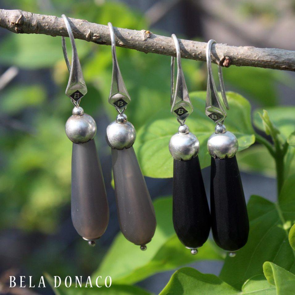 Taupe en zwart kleurige Agaat met Sterling Zilveren oorbellen
