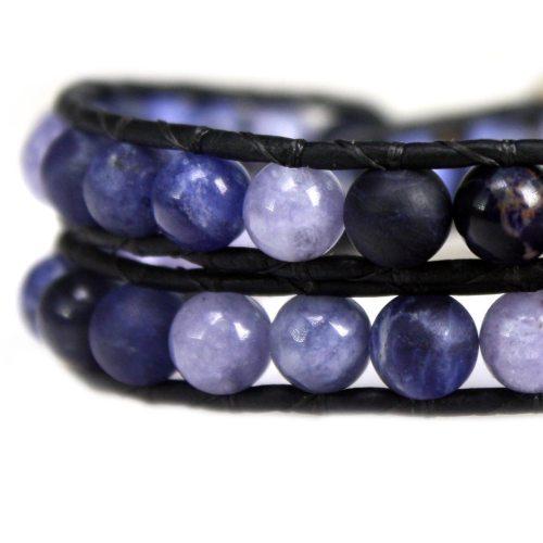 Wikkelarmband Blue Jeans B6 – Sodaliet – Blauwe Kwarts – Lapis Lazuli