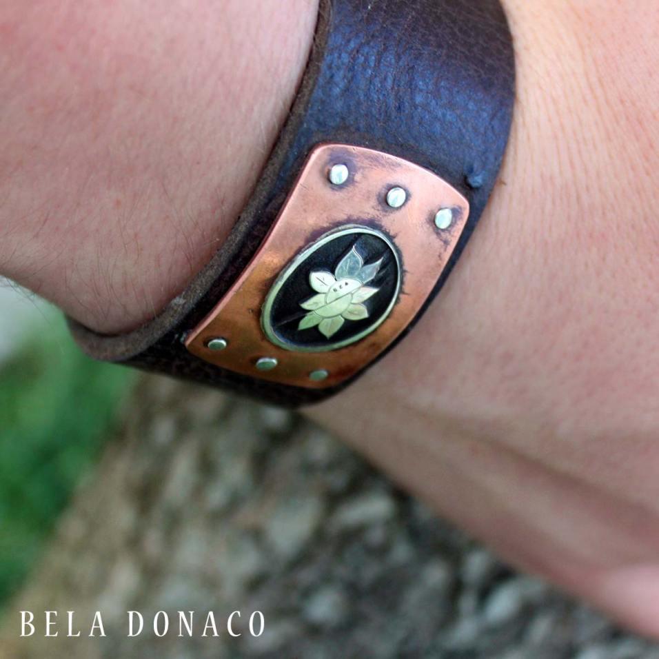 Custom-made armband met Sterling Zilver, Koper en leder.