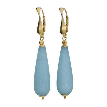 Oorbellen Art Deco Blauwe Jade Sterling Zilver verguld-2
