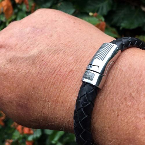 Armband Business line W12 – RVS – Gevlochten zwart leder