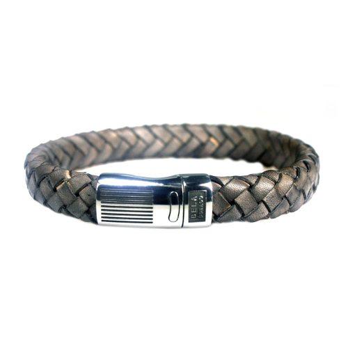 Armband Business line W12 – RVS – Gevlochten vintage taupe leder