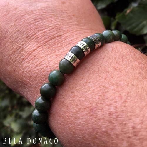 Armband Luxury B8 – Afrikaanse Jade – Geoxideerd Sterling Zilver