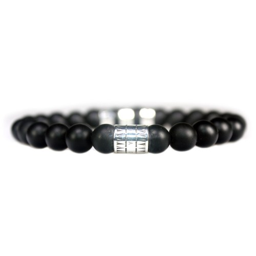 Armband Luxury B8 – Zwarte mat Onyx – Geoxideerd Sterling Zilver