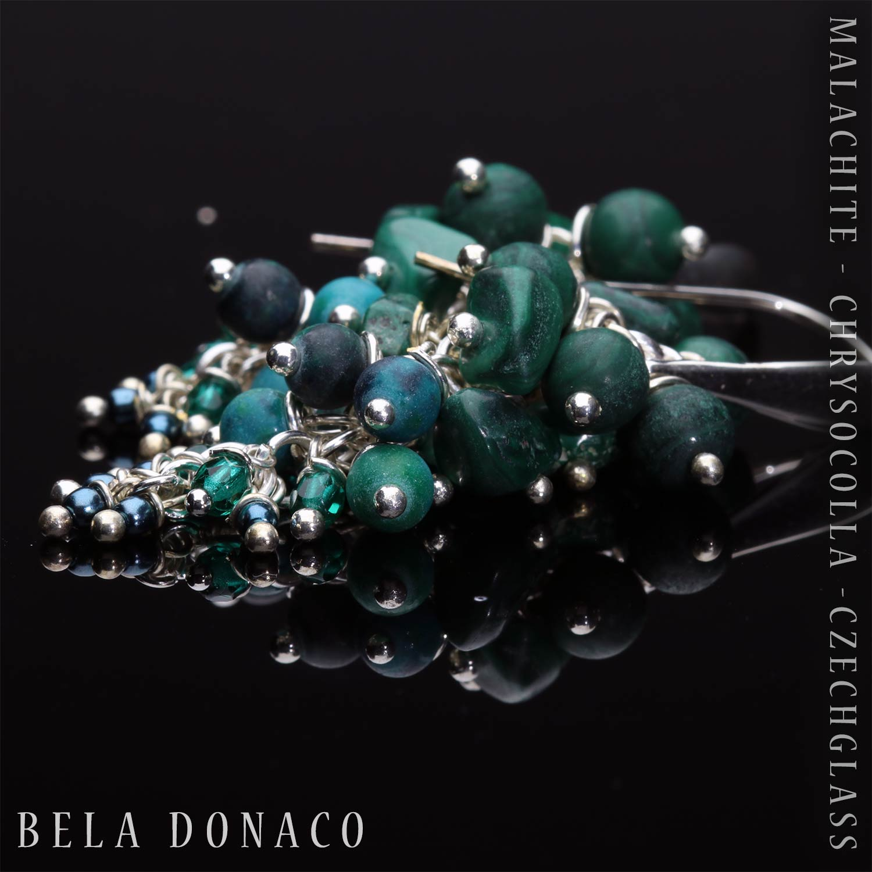 Oorbellen Wrap Wire - Malachiet - Chrysocolla - Tsjechisch glas - Sterling Zilver