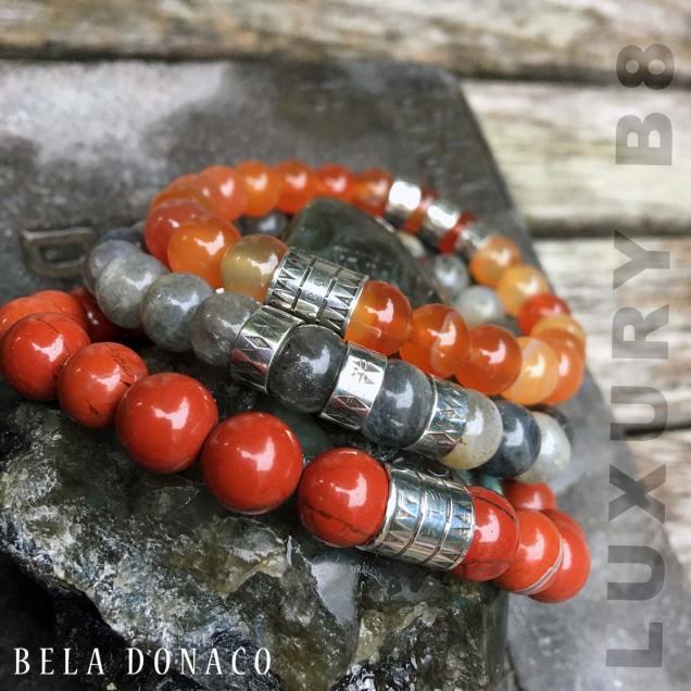 Armband Luxury B8 Combinatie – Carneol - Labradoriet - Redstone – Geoxideerd Sterling Zilver