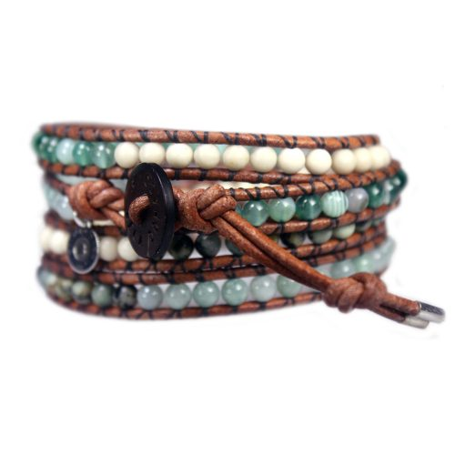 Wikkelarmband Bohemian B4 – Agaat – Africaanse turquoise – Jade – Fossil – old schoolleer