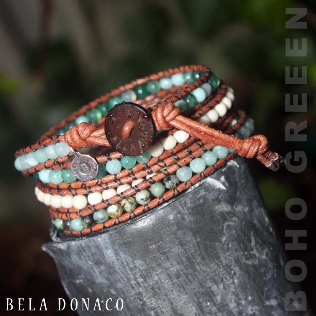 Wikkelarmband Bohemian B4 - Agaat - Africaanse turquoise - Jade - Fossil - old schoolleer
