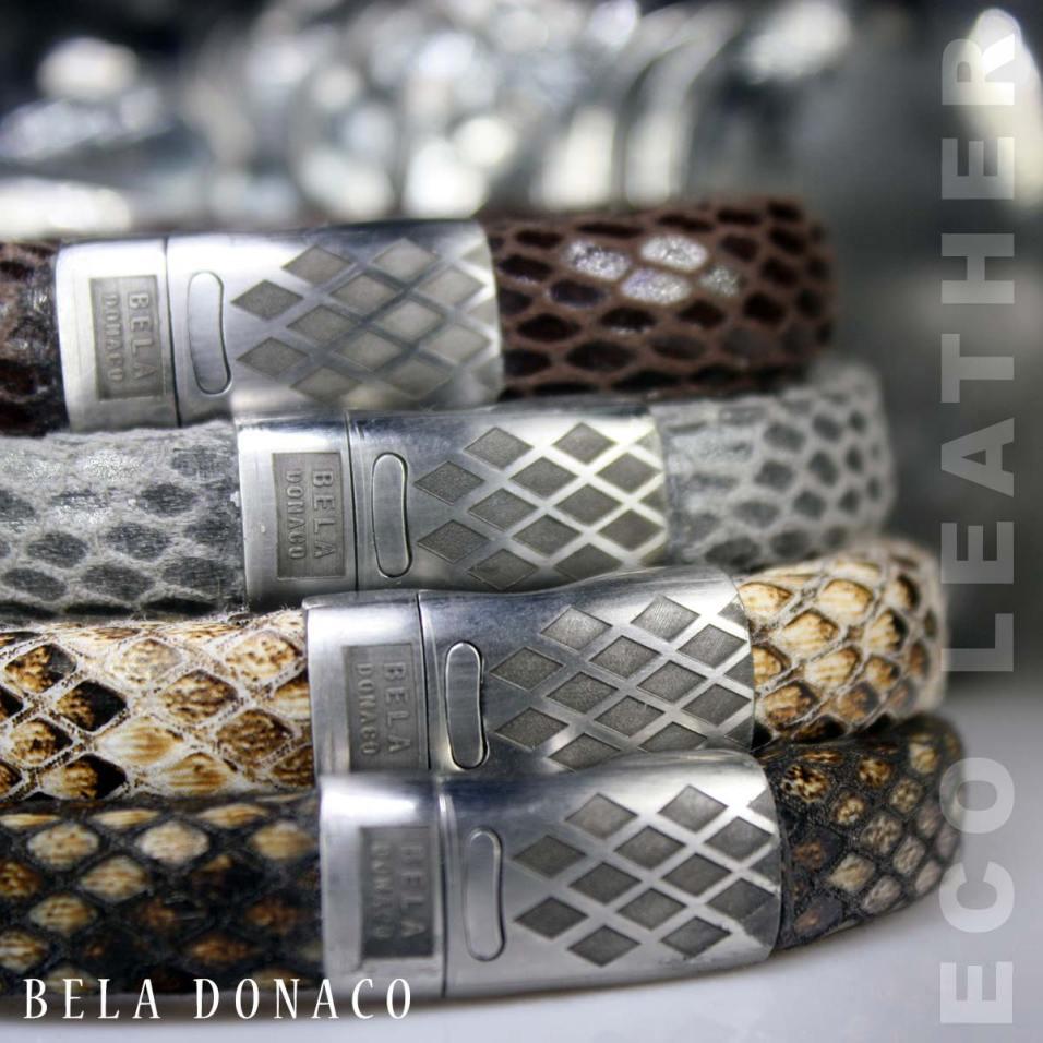 Armband Business line W12 – RVS – ECO snake (print) Leather
