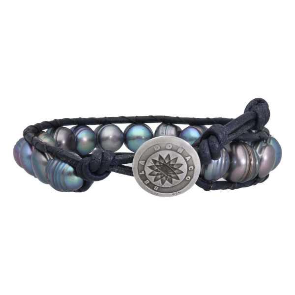 Armband Classic B9 Zwarte Parel nachtblauw leder Sterling Zilver-2
