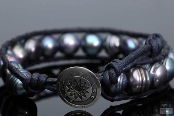 Armband Classic B9 Zwarte Parel nachtblauw leder Sterling Zilver-5