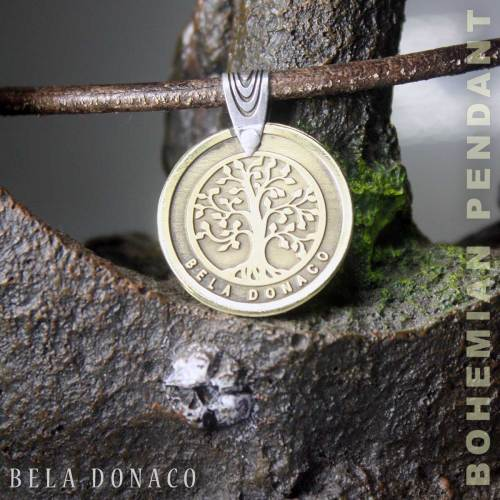 Set – Bohemian vintage ledere ketting / armband plus Messing met Sterling Zilveren Tree of life hanger