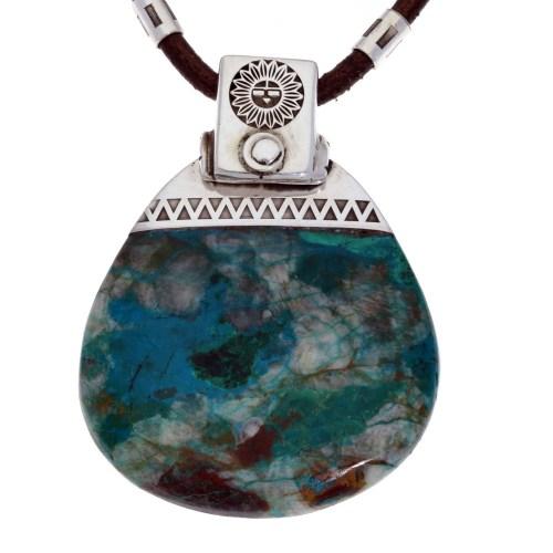 Ketting en hanger Unica – Hopi symbool –  Chrysocolla Arizona – Sterling Zilver