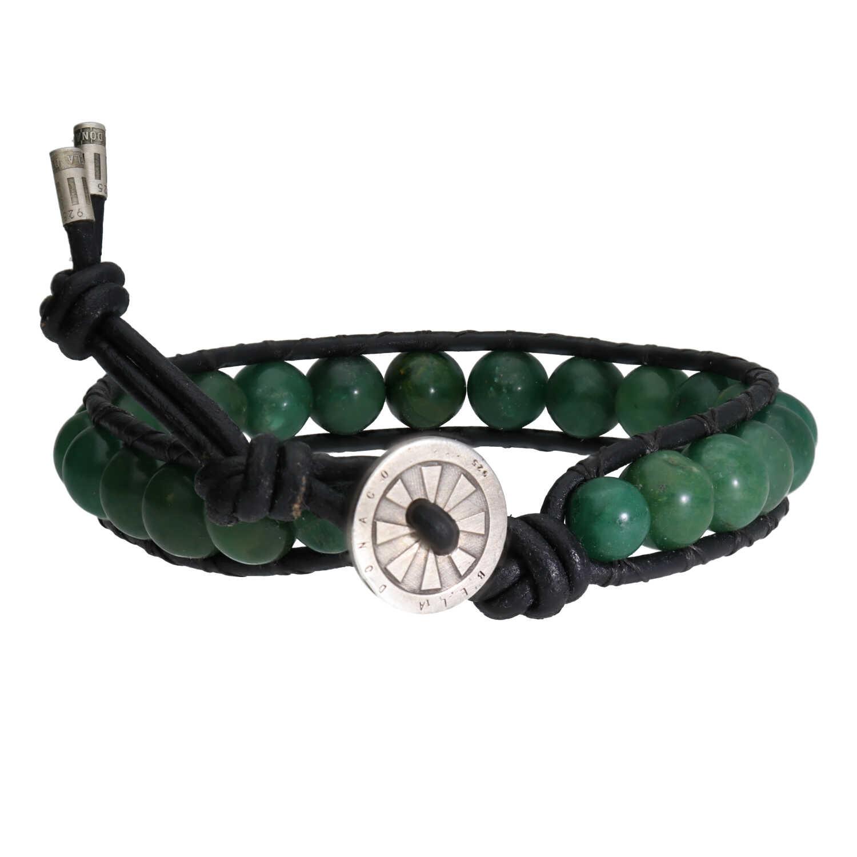 Armband Classic B8 Afrikaanse Jade Leer Sterling Zilver-2