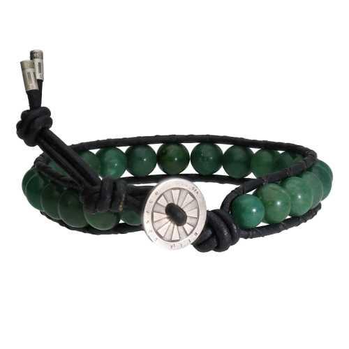Armband Classic B8 – Afrikaanse Jade – Leer – Sterling Zilver