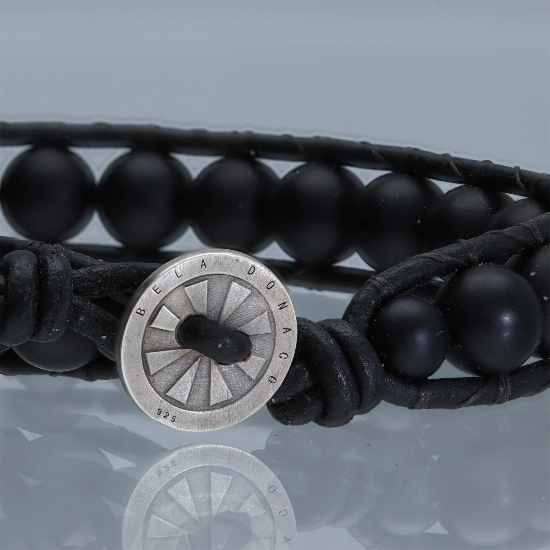 Armband Classic B8 mat zwarte Onyx Leer Sterling Zilver-2