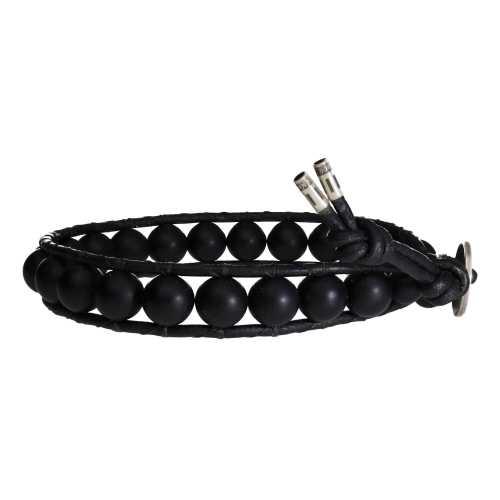Armband Classic B8 – mat zwarte Onyx – Leer – Sterling Zilver