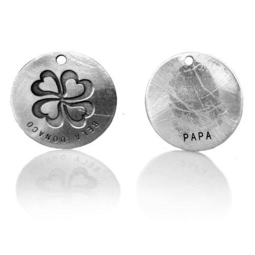 Gedenk tag/label met vingerafdruk voor aan sieraad – 12 mm – Sterling Zilver – Brons – Messing – Koper – RVS.