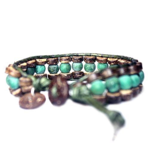 Armband Bohemian B8 – mat Afrikaanse Jade – kokos – groen vintage leer