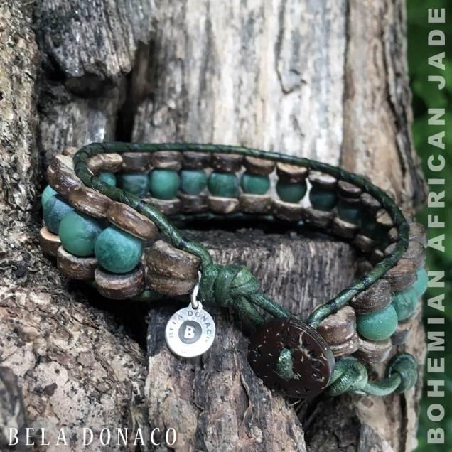Armband Bohemian B8 - mat Afrikaanse Jade - kokos - groen leer