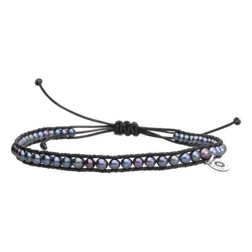 Heren enkelband Supreme B4.5 – Zwarte parels – Leder
