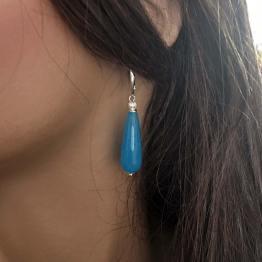 Oorbellen Art Deco – blauwe facet Jade – Sterling Zilver