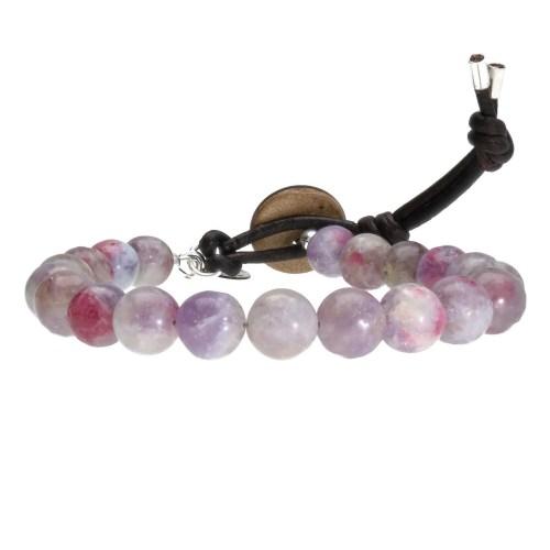 Armband Basic  B8 – roze/paarse Toermalijn – Vintage leder