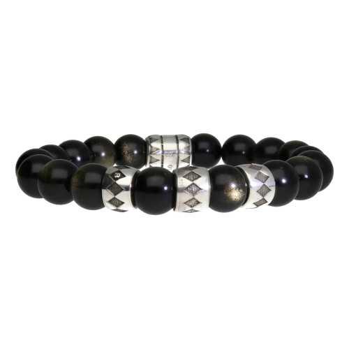Armband Luxury B10 – Gold sheen Obsidiaan – Geoxideerd Sterling Zilver