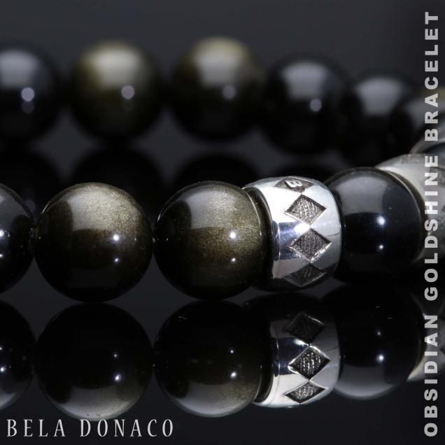 Armband Luxury B10 Obsidiaan Goldshine Geoxideerd Sterling Zilver-5-bg