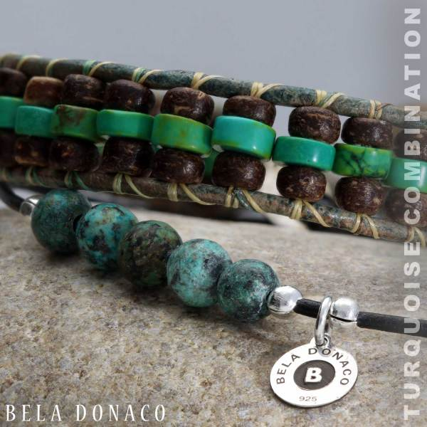 Enkelbandje Bohemian Green - Afrikaanse Turquoise - Leer-6