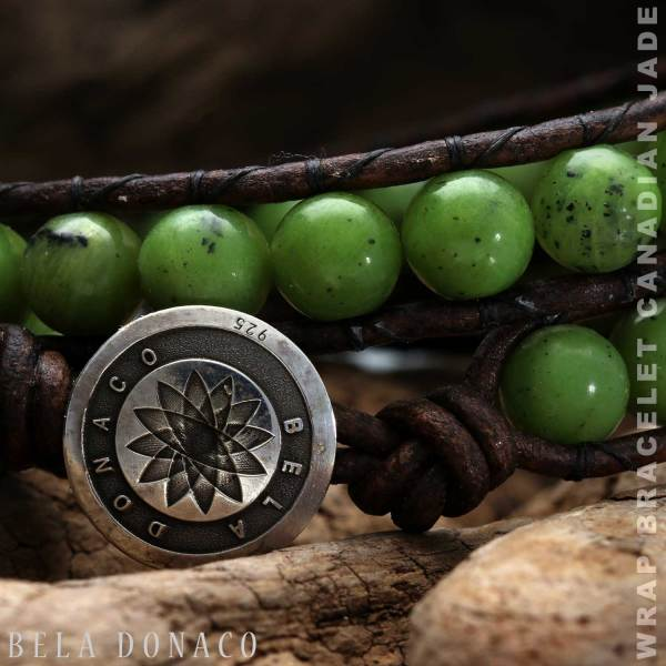 Wikkelarmband Classic B8 groene Canadese Jade Vintage bruin leer-1-def