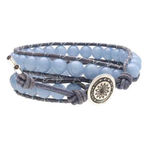 Wikkelarmband Classic B8 – Angeliet – vintage blauw/grijs Leder – Sterling Zilver