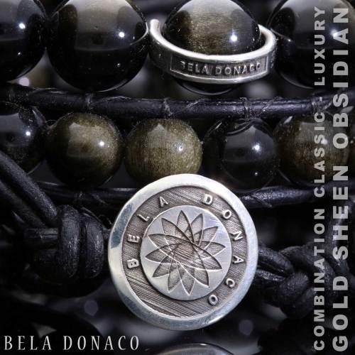 Wikkelarmband Classic B8 – Gold Sheen Obsidiaan – zwart leer – Sterling Zilver