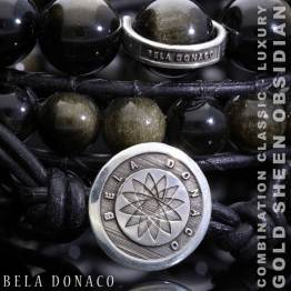Armband Luxury B10 – Gold sheen Obsidiaan – Sterling Zilver