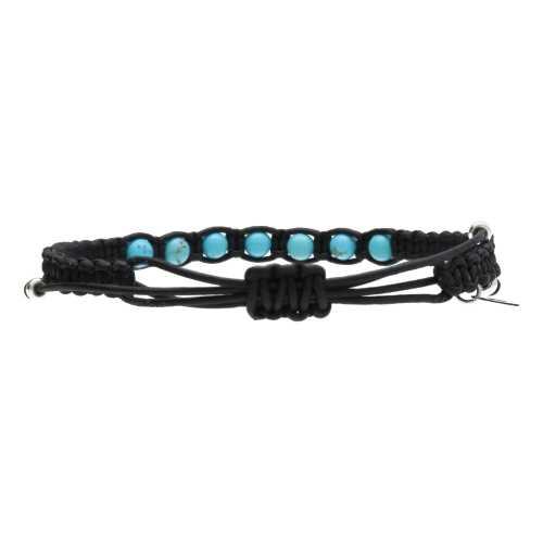 Enkelbandje Bohemian B6 – Turquoise – zwart  gevlochten Leer