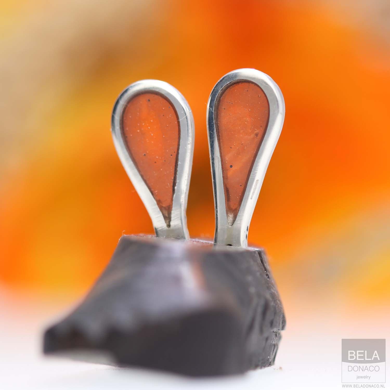 Oorbellen Resin art collection - Sterling Zilver - Orange-4