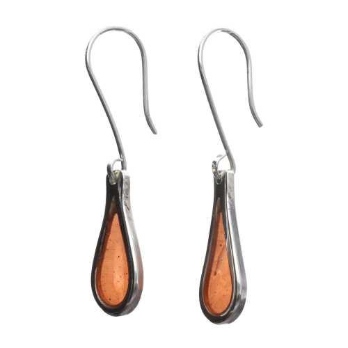 Oorbellen Resin art collection – Sterling Zilver – Orange