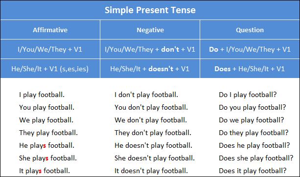 Penjelasan dan Rumus Simple Present Tenses Bahasa Inggris Beserta Contoh Kalimatnya Lengkap